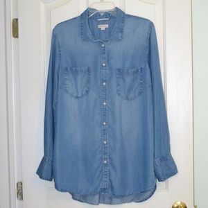 Merona chambray button down tunic top Size XXL